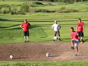 Play FootGolf with friends, family, or your whole soccer team!